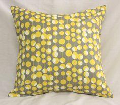 Decorative Pillow Covers - Dijon Mustard Yellow & Gray Martini Dots -18 x 18…