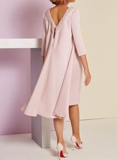 Solid V-Neckline Sleeves Knee-Length X-line Dress - Pink / S Mother Of Groom Outfits, Mother Of The Bride Fashion, Mother Of The Bride Suits, Spring Dresses, Day Dresses, Bridal Dresses, Nice Dresses, Casual Dresses, Buy Dress