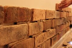 5 inch and up: My new wall Faux brick wall for basement ... Perfect