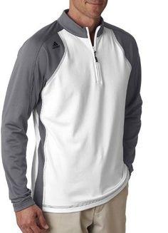 adidas A276 Men's Climawarm+ 3-Stripes Colorblock Quarter-Zip Training Top White/ Lead 2Xl