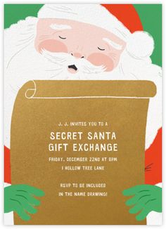 Top of the List - Paperless Post Secret Santa Gift Exchange, Secret Santa Gifts, Paperless Post, Christmas Party Invitations, Digital Invitations, Merry And Bright, Tool Design, Snowmen, Rsvp