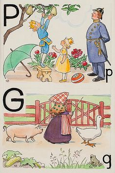 Elsa Beskow : P-prins och G-gumma - P Prince Pears G Goose and Grandmother Elsa Beskow, Edith Holden, Childrens Christmas, Childrens Books, Vintage Book Art, Retro Images, Children's Literature, Women In History, Alphabet