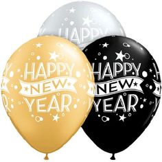 Black Silver & Gold Happy New Year 2017 Latex Balloons