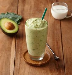 Avocado yogurt blended drink —Starbuck's  Korea...This beverage, which may just be the healthiest on the list, is made with avocado, kale, low fat yogurt, and coconut milk.
