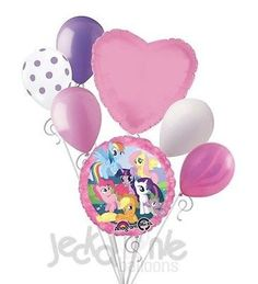 My Little Pony Group Balloon Bouquet Happy Birthday Party Decoration Rainbow My Little Pony Birthday Party, Happy Birthday Parties, Round Balloons, Heart Balloons, Birthday Event Ideas, Balloon Bouquet, Party Ideas, Latex Balloons, Retail Packaging