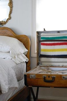 25 Incredible Ideas To Upcycle An Old Suitcase Almost Effortlessly – Cute DIY Projects Vintage Suitcases, Vintage Luggage, Decoupage Suitcase, Hudson Bay Blanket, Cute Diy Projects, Wood Projects, Furniture Design, Plywood Furniture, Repurposed Furniture