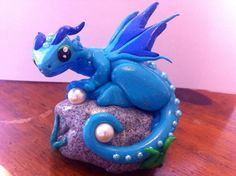 Sea polymer clay dragon with pearls