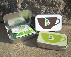 Green Teabag Tin larger altoid size