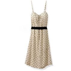 Polka Dots Cream Suspender Dress ❤ liked on Polyvore