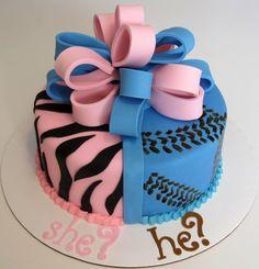 Baby Gender Reveal Cake...zebra and a baseball to cute!