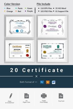 These 20 certificates can be used in business establishments, projects, schools, colleges, internet educational institutions or any government agency. Certificate Of Appreciation, Certificate Of Achievement, Logo Creation, Certificate Templates, Company Names, Design Bundles, Web Design, Advertising Poster