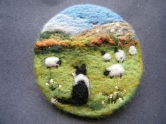 Hand Made Needle Felted Brooch  -   Good girl, Gwen   by Tracey Dunn