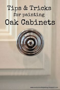 Tips   Tricks for Painting Oak Cabinets.  I dont normally care for white cabinets, but ive got black granite counters and charcoal flooring.