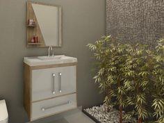 Gabinete para Banheiro com Cuba e Espelho 2 Portas - 1 Gaveta - Móveis Bechara Atenas II com as melhores condições você encontra no Magazine Ogaitsmart. Confira!