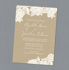 Lace inspired wedding invitations on kraft paper #rustic