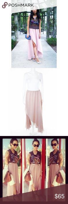 Dress the population chiffon ruffle maxi skirt XS Beautiful floor length skirt by Dress the Population in a nude blush, dusty rose color. Chiffon and fully lined. Has a split in front with ruffles and flutters beautifully with your movement. Expandable waist fits XS-small best. New, no flaws and never worn. Purchased at Urban Outffiters. Pair with a dramatic sequin cropped top or sexy plunging bodysuit. 40 inches long. Waist 11 inches unstretched. For nasty gal, nordstroms, revolve clothing…