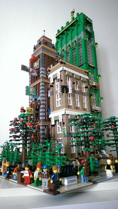 Brave New high rise, part of my expansion Lego city. The Anime Center, Hotel & Corps Tower