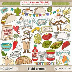Taco Tuesday Clip Art Cinco de mayo Mexican Fiesta by FishScraps Vegan Quesadilla, Texas Chili, Planner Stickers, Taco Clipart, Food Illustrations, Illustration Art, Carrie, Hot Dogs, Multicultural Activities