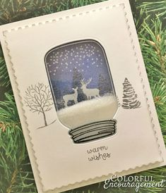 Jar Scene - Kimmy Henrickson - - Mason Jar Scene Mason jars and snow globes are everywhere this holiday season. What do you get when you combine them? Two amazing shaker cards! Mason Jar Cards, Mason Jar Diy, Wine Bottle Crafts, Jar Crafts, Winter Cards, Holiday Cards, Stampinup Christmas Cards, Christmas Cards 2018, Cricut Christmas Cards