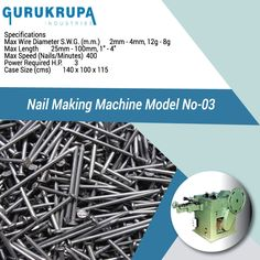 Manufacturer Of Wire Nail Making Machine, Wire Nail Machine, Nails Manufacturing Machine  Concrete Nail Making Machine, Wire Drawing Machine, Nail Machine In Rajkot- Gujarat- India.
