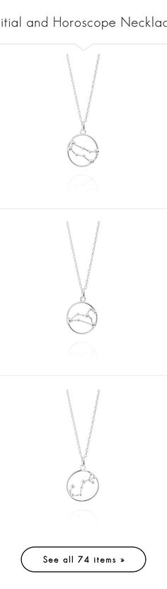 """""""Initial and Horoscope Necklace"""" by aurellsianturi on Polyvore featuring jewelry, necklaces, silver necklace pendant, silver circle pendant, chain pendants, silver necklace, silver chain necklace, thick silver necklace, star necklace and silver rope chain necklace"""