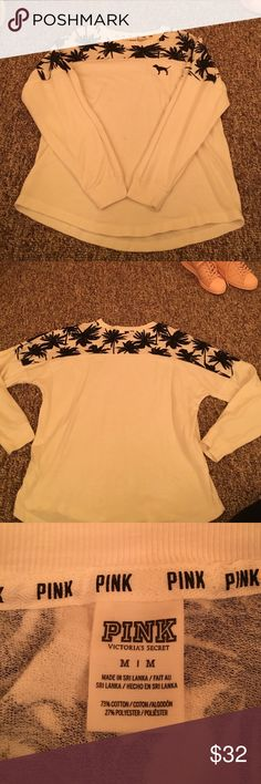 PINK White Palm Tree Crew Neck White and black palm tree crew neck from PINK. Worn once, still in perfect condition. Super cute and comfy, just too big for me! Originally $47. PINK Victoria's Secret Sweaters Crew & Scoop Necks