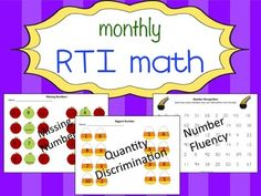Monthly RTI Math Pratice (Bundle) - a whole school year's worth of activities to get your students working on missing numbers, comparing numbers, and number fluency