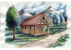 "Log Cabin House Plan 85877 | Total Living Area: 595 sq ft, 15' x 15'4"" living…"