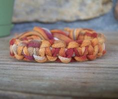 Art t-shirt yarn bracelet...camp craft? jewelry