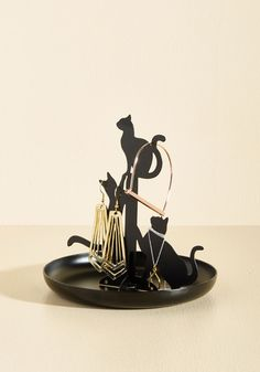 Has A Familiar Ring To It Jewelry Holder by Kikkerland - Black, Black, Solid, Print with Animals, Halloween, Dorm Decor, Statement, Cats, Spring, Summer, Fall, Winter, Gals, Under $20, Quirky, Critters, Critter Gifts, Under 25 Gifts