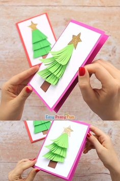 In this tutorial you will learn How to make a Paper Christmas Tree Card, a wonderful and easy project that's great for improving your child's scissor skills. crafts tutorials How to make a Paper Christmas Tree Card Christmas Arts And Crafts, Christmas Tree Cards, Winter Crafts For Kids, Paper Crafts For Kids, Holiday Crafts, Christmas Diy, Christmas Card Ideas With Kids, Christmas Cards Handmade Kids, Christmas Projects For Kids