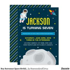 Boy Astronaut Space Birthday Invitation by Rosewood and Citrus on Zazzle