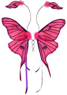 Pink Luna Moth Fairy Wings by customfairywings.deviantart.com on @deviantART