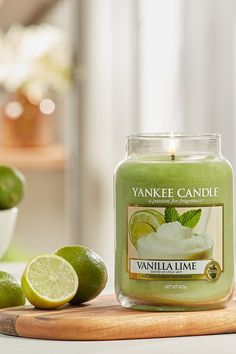 Buy Yankee Candle Classic Large Vanilla Lime Candle from the Next UK online shop Scented Candles, Candle Jars, Yankee Candle Scents, Smell Good, Traditional Design, Lime, Fragrance, Restaurant, Pure Products