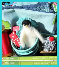 handmade felted penguin.