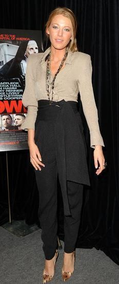 "Who made Blake Lively's black pants, nude shirt and python pumps that she wore to a press conference for ""The Town"" during the 2010 Toronto International Film Festival on September 10, 2010 in Toronto? Shoes – Christian Louboutin  Pants and shirt – Preen"