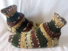 Men or  Boys Hand Knitted Sock Slippers in Shoe Size 8 to 9. $20.00, via Etsy.