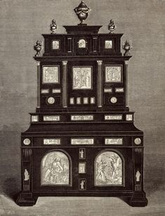 Ebony cabinet decorated with silver plaques with reliefs of Pieta, Crucifixion, Virgin Mary, St. John, St. Roch, Martyrdom of St. Sebastian and medallions on the sides with combined coats of arms of the Jabłonowski and Ogiński families by Anonymous from Poland, second half of the 17th or 19th century, Palace Museum in Wilanów. The cabinet was acquired by August Potocki in Cologne, silver plaques were lost during World War II. #ebony #cabinet #silverplaques #artinpl #baroquefurniturewith St Sebastian, Virgin Mary, World War Ii, Cologne, Anonymous, Poland, 19th Century, Families, Arms