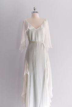 Emanuel Ungaro Silk Chiffon Flutter Sleeve Gown