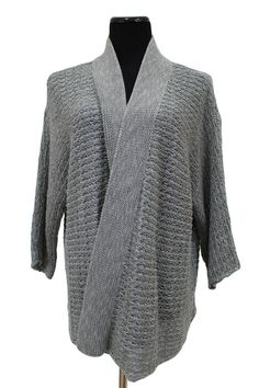 Eileen Fisher 34 Sleeve Open Front Cardigan Sweater Gray Size 2X