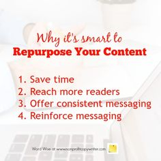 Why it's smart to repurpose content with Word Wise at Nonprofit Copywriter Easy Writing, Article Writing, Blog Writing, Writing Tips, Writing Process, Writing Websites, Writing Resources, Writing Classes, Writing Practice