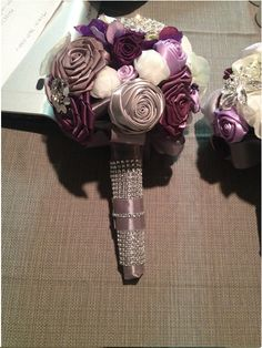 DIY Rose Bouquets for Bridesmaids :  wedding bouquet bridesmaids brooch bouquet brooches ceremony diy flowers inspiration purple reception ribbon rose silver BRIDAL