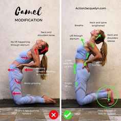 Camel Pose Modification - Action Jacquelyn - Yoga for Flexibility. , Yoga and Barre Tutorials Fitness Workouts, Yoga Fitness, Pilates Workout, Yoga Bewegungen, Vinyasa Yoga, Yoga Flow, Yoga Beginners, Beginner Yoga, Advanced Yoga