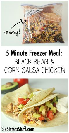 5 Minute Black Bean and Corn Salsa Chicken Easy Freezer Meal on SixSistersStuff.com - this literally takes less than 5 minutes to throw together!