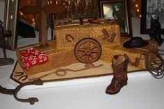 Hay Bale cake with wagon wheel