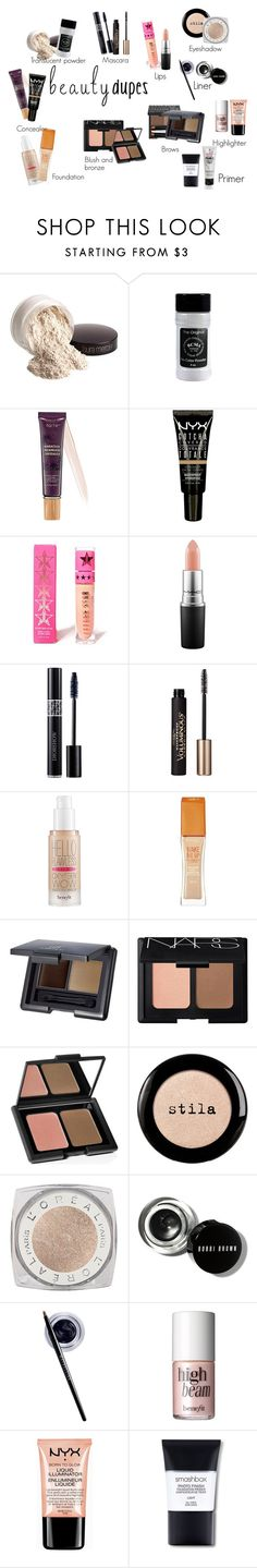 """Beauty Dupes"" by feral-heart ❤ liked on Polyvore featuring beauty, Laura Mercier, tarte, NYX, Jeffree Star, MAC Cosmetics, Christian Dior, L'Oréal Paris, Benefit and Rimmel"