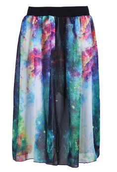 Multi Elastic Waist Galaxy Print Skirt - Sheinside.com