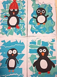 Pinguïns on ice Winter Art Projects, Winter Project, Winter Crafts For Kids, School Art Projects, Winter Fun, Art For Kids, Kindergarten Art, Preschool Crafts, Winter Activities