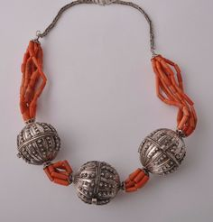 Antique Yemen Silver / red coral Necklace Choker- signed Globe Beads