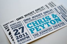 Wedding Invitation - One Night Only Ticket
